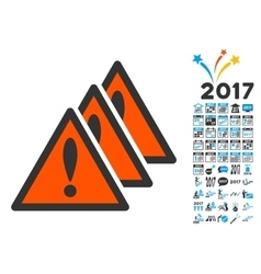 Multiple Problems Icon with 2017 Year Bonus vector