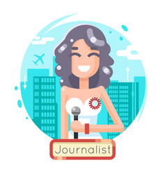 News reporting journalist reporter female girl vector
