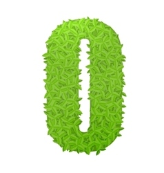 Number 0 consisting of green leaves vector