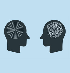 Opposite mindset chaos and order in thoughts vector