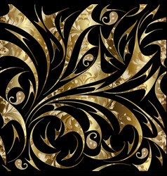 paisley seamless gold floral pattern vector image