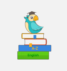 parrot in graduation cap sits on a stack books vector image