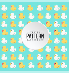 pattern yellow white little duck blue background v vector image