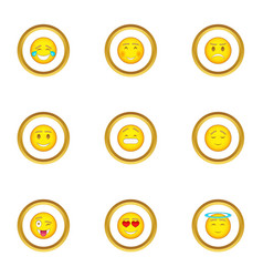 people emoticons icons set cartoon style vector image