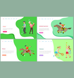 people training sport landing page hob vector image