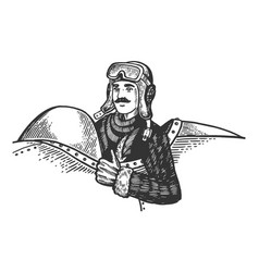Pilot in plane engraving vector