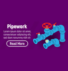 Pipework concept banner comics isometric style vector