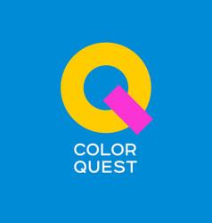 q letter flat emblem kids store vector image