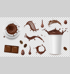 realistic coffee set drink splashes coffee beans vector image