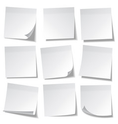 Realistic sticky note white paper message on vector