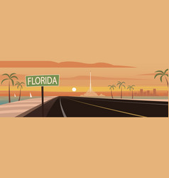 Road trip florida sign and landmarks vector