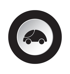 Round black white button - cute rounded car icon vector