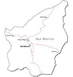 San Marino Black White Map With Major Cities vector image