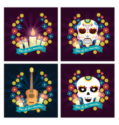 set candles with skulls and guitar to day of the vector image