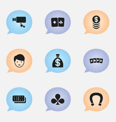 set of 9 editable game icons includes symbols vector image