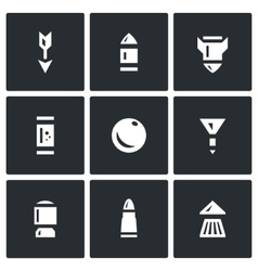 Set of Ammunition Icons Arrow Bullet vector image