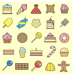 Set of sweet food icons set Tasty collection of vector image