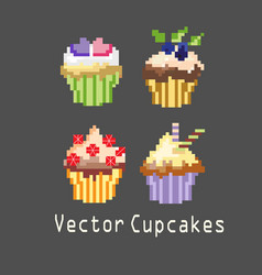 sets of cupcakes for decoration vector image