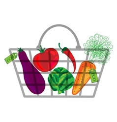 shopping bag with vegatables vector image vector image