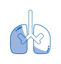 Silhouette lungs organ to anatomy pulmonary care vector