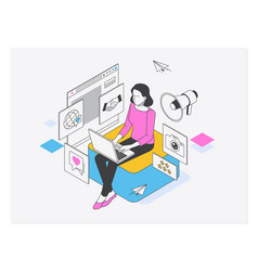 social media manager or influencer at work vector image