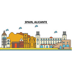 spain alicante city skyline architecture vector image