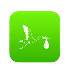 Stork carrying icon digital green vector