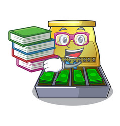Student with book cartoon cash register with a vector