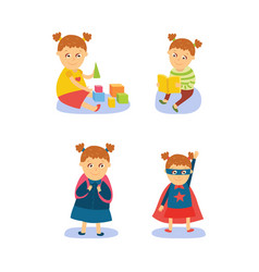 Superhero girl reading playing going to school vector
