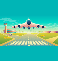 Takeoff of plane on landing strip vector