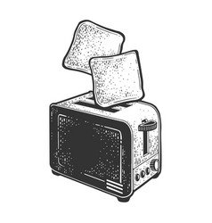 Toasts fly up from toaster sketch vector