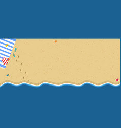 Top view of exotic empty sandy beach with sea wave vector