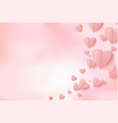 valentines paper cut hearts flying elements vector image
