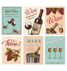 Wine posters or vineyard banners sparkling vector