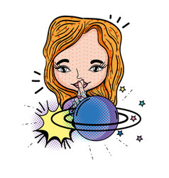 woman with planet saturn pop art style vector image
