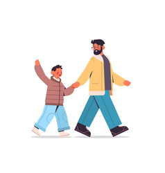 Young father walking with son parenting fatherhood vector