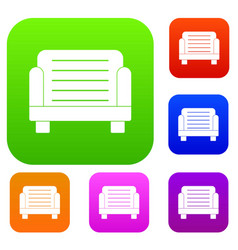 armchair set color collection vector image vector image