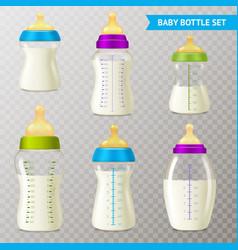 baby bottles transparent set vector image vector image