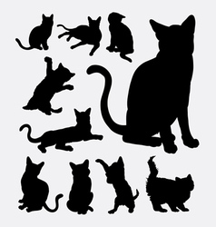 Cat action silhouettes vector image