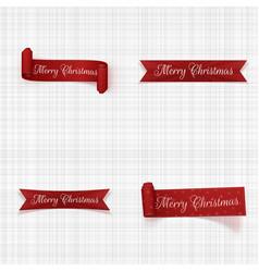 christmas greeting red ribbons set vector image