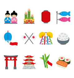 japan tradition food travel asia cartoon vector image vector image
