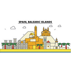 spain balearis islands city skyline architecture vector image