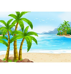 Summer theme with beach and ocean vector image
