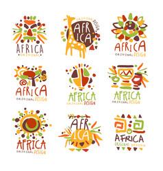 africa set for logo original design travel to vector image