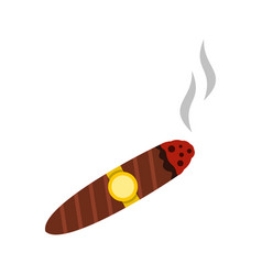 brown cigar icon flat style vector image