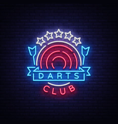 darts club logo in neon style neon sign bright vector image vector image