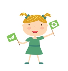 girl with eco flag isolated vector image vector image