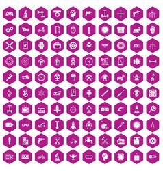 100 gear icons hexagon violet vector