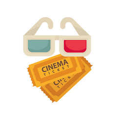 cinema 3d glasses and tickets for movie vector image vector image