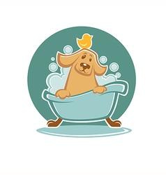 dog in bath vector image